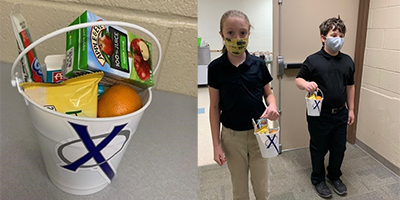 Pictured: All Saints School in Cedar Rapids offers Breakfast Buckets where students select breakfast items to fill their bucket and take to the classroom to consume. The school has similar levels of participation in breakfast and lunch programs.