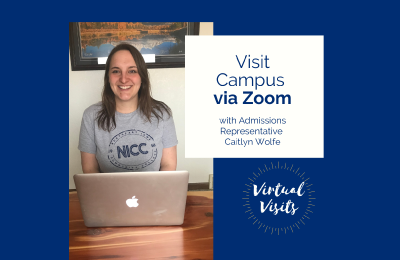 Photo and graphic showing Admissions Representative Caitlyn Wolfe advertising virtual visits for Northeast Iowa Community College.