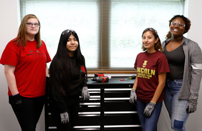 Camp participants get hands-on experience in construction careers. L-R: Haylee Flynn, Hoover High School; Rocio Cruz, Hoover High School; Alexandra Chamu, Lincoln High School; and Kaseia Tillman, Roosevelt High School.