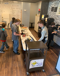 Business is brewing at the Go-Hawk On the Go coffee shop.