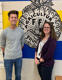Jaxon Mullinnix is with Bridget Mahoney, agriculture instructor and Lone Tree FFA Advisor. Mahoney nominated Jaxon for the U.S. Presidential Scholars in Career and Technical Educatio Program.