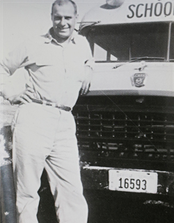 Max Christensen's Dad, Dale Christensen, pictured with the school bus he drove for the Anita school district. Max Christensen's parents had difficulty settling on a middle name for their son. So, Dale Christensen asked his student passengers for suggestions. A child provided the name Corey, forever connecting Max Christensen with the transportation industry even before he was born.