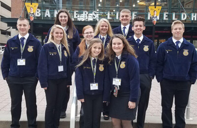 Jaxon Mullinnix, second from the right, and other FFA members from Lone Tree attended the FFA National Convention, held this year in Indianapolis, In.