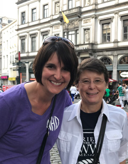 Suzan Turner (left) of Nashua poses for a photo with National History Day Executive Director Cathy Gorn, while they were in Brussels, Belgium, last year. They were traveling with other National History Day teachers during a 2019 trip to Europe.