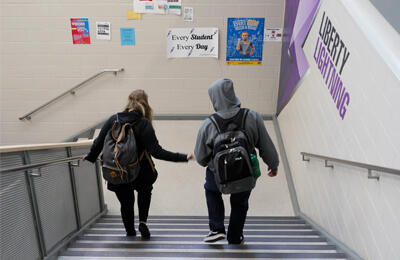 A stairwell poster that reads, Every Student Every Day, helps keep the educational and behavioral goals for students ever present in their environment and daily choices.
