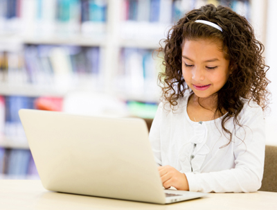 young girl on a laptop computer